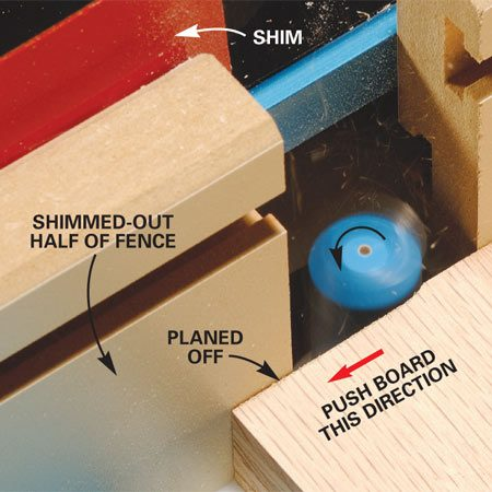 <b>Photo 4: Make the smoothing cut</b></br> Test the setup on a scrap of wood. With the fence accurately adjusted, the planed board will glide over and rest tightly against the shimmed-out half of the fence. If the board hits the shimmed-out fence, move the fence back a little. If there's a gap behind the board, move the fence forward slightly.