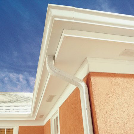 <b>Finished gutter and downspout</b></br> Nicely installed gutters will complement the appearance of your home as well as solve water problems.