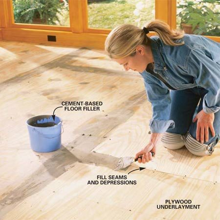 "<b>Photo 1: Fill and sand the subfloor</b></br> Fill the seams and depressions with a Portland cement–based floor leveler. Feather the filler perfectly smooth with the underlayment. Once it's dry, scrape any ridges and sand away any high spots with a pole sander (Photo 9) fitted with 100-grit sandpaper. Check also for high screws as you drag your blade across the floor. If you hear a click, set the screw lower. Remember, irregularities or high fasteners will ""telegraph"" up through the cork."