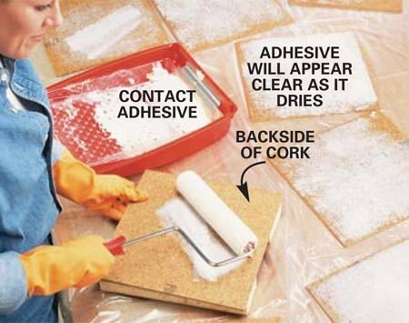 <b>Photo 3: Spread adhesive on the tile</b></br> Roll contact adhesive on the backs of the cork tile the night before you start. This will save time when you're ready to lay the floor. The adhesive will remain active for 12 hours even though it feels dry. You can stack them once the adhesive is dry, but don't let the glued surfaces touch.