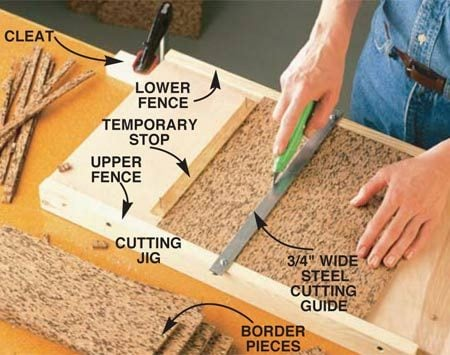 <b>Photo 7: Make clean straight cuts</b></br> Cut each square accurately with a homemade jig. The fence should be about 1/16 in. higher than the tile. Use a framing square to position the steel cutting guide (steel stock purchased at hardware store) square to the fence. Nail a stop to the base of the jig to make exact repeatable cuts.
