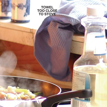 <b>Potential cooking fire</b></br> A towel or curtains hanging too close to an unattended stove can ignite.
