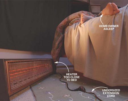 <b>Potential space heater fire</b></br> Space heaters and wood stoves too close to combustibles cause most of these fires.