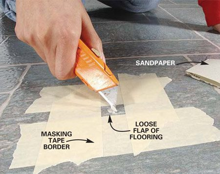 <b>Photo 1: Cut away loose vinyl</b></br> Tape around the damage. Cut out any loose fragments with a utility knife. Clean dust or dirt from inside the damaged area with a damp rag, and smooth rough edges with the enclosed sandpaper.