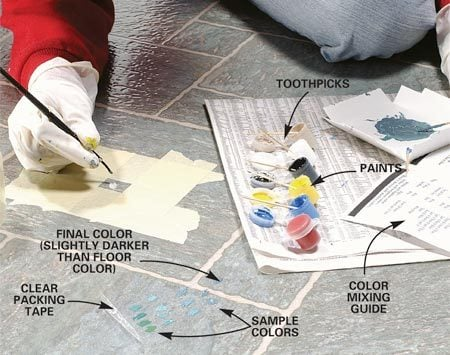 <b>Photo 2: Mix paint to match the vinyl</b></br> Mix the paint to match the floor color, and paint the inside surface and edges of the damaged area. Clean off any paint that gets on the surrounding vinyl surface. Let the paint dry for 15 minutes, or speed up the drying time with a hair dryer on low heat.