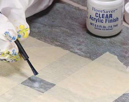 <b>Photo 4: Apply acrylic finish</b></br> Brush the clear acrylic finish over the repair, and allow two hours' drying time before walking on the area.