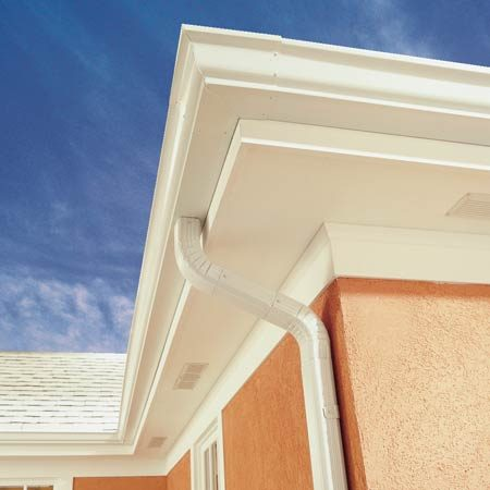 <b>Completed gutter</b></br> Almost all home centers and full-service hardware stores sell gutter systems that are designed primarily for easy installation. But with just a little bit more work, you can use these same parts to put together gutters and downspouts that are stronger and better looking too.