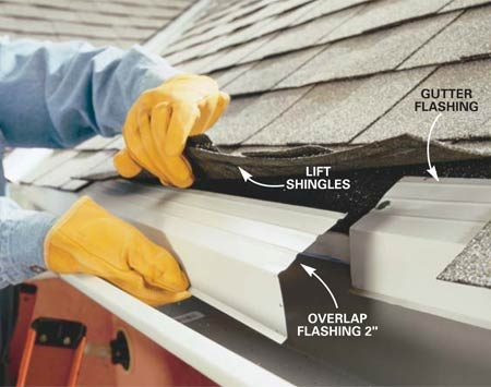 <b>Photo 11: Add gutter flashing</b></br> Slide gutter flashing under the shingles and secure with 1-in. roofing nails every 2 ft. Lap sections about 2 in.