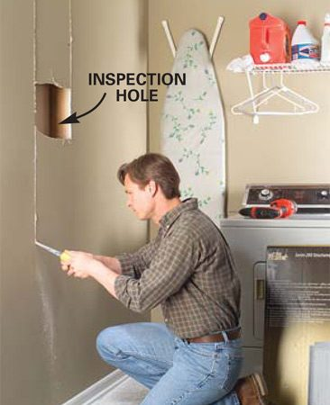 <b>Photo 1: Cut open a stud space</b></br> Use a drywall saw to cut out the drywall between two wall studs. Stop the cuts at the top plates at the ceiling and 2 in. above the baseboards at the floor. (Cut a small inspection hole first to locate wires within the wall to prevent damaging them.)