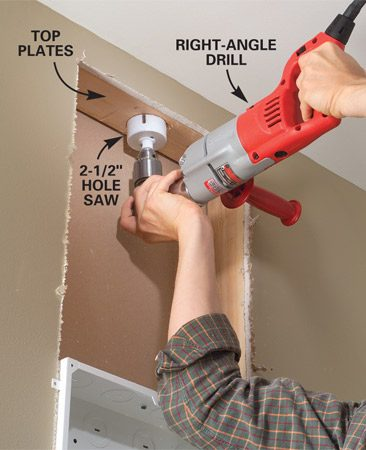 <b>Photo 3: Drill access holes</b></br> Drill a 2-1/2 in. hole through the top and bottom plates to access the attic and basement for cable runs.