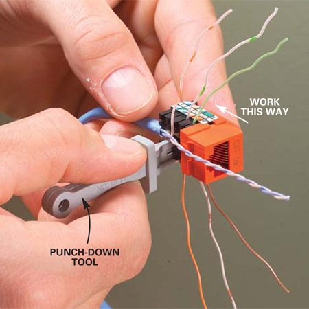 <b>Photo 9: Punch down the wires</b></br> <p>Gently  Untwist the colored pairs and bend them into the matching terminals. Work from  the front of the jack toward the back, using the punch-down tool that comes  with the jacks. Push them in until you feel the little snap that tells you the  connector has bitten into the wire. Using the scissors, cut off the excess  wires flush with the side of the jack. </p> <p><strong>Note:</strong>  You don't have to strip the insulation. The connector cuts through it when you  punch it down. </p>