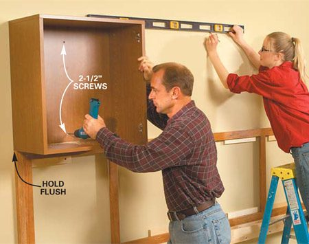 <b>Photo 3: Fasten the upper cabinets</b></br> Set the left upper cabinet onto the corkboard frame. Hold it flush with the end of the frame. Fasten with a minimum of three 2-1/2 in. screws driven through the cabinet back into studs. Next, install the right upper cabinet. Draw a level line to mark the shelf cleats.
