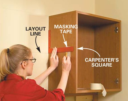 <b>Photo 4: Mark shelf locations</b><br/>Mark the location of the shelves on the side of both upper cabinets. Use a carpenter&#39;s square to ensure the shelves are level front to back.
