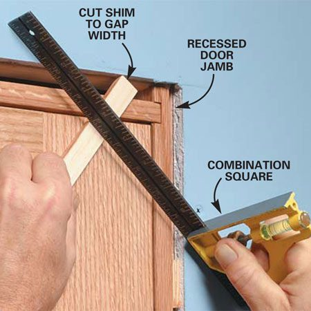 <b>Photo 1: Cut a shim to size</b><br/>Cut a shim just thick enough to slip under a straightedge spanning the drywall corner. Use this shim to elevate the outside edge of your molding (Photo 3) before cutting it.