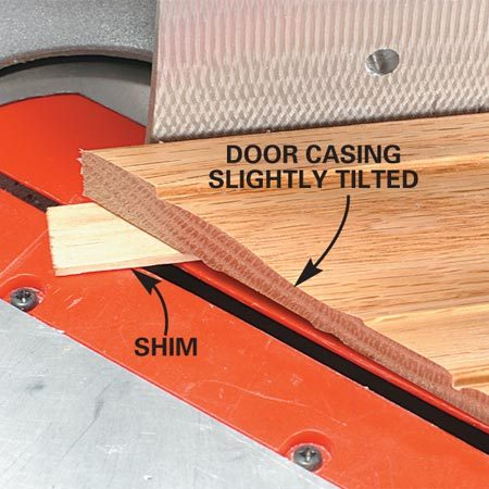 <b>Detail of shim under the molding</b><br/>Lift the outside edge of the molding up with the shim.