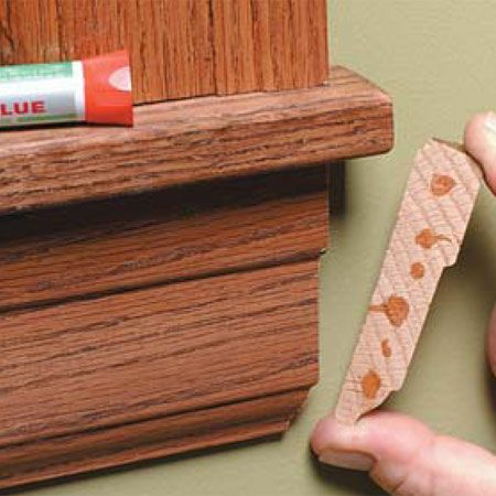 <b>Photo 2: Attach the return with glue</b><br/>Glue the mitered return in place with a fast-acting cyanoacrylate glue formulated for wood (Krazy Glue is one brand).