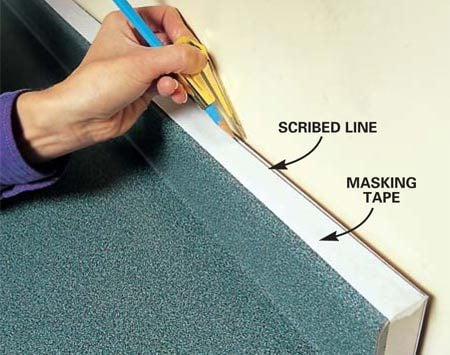 <b>Photo 3: Countertops</b></br> Slide the countertop tight to the wall. Measure to make sure the front edge of the countertop is parallel to the front of the cabinets. Adjust the distance between the compass point and pencil tip to equal the widest gap between the wall and the countertop and tighten the thumbscrew. Run the compass point along the wall to transfer the contour to the countertop.