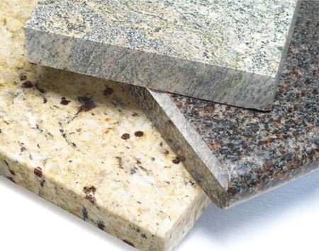 <b>Granite</b></br> Granite is quarried in solid stone slabs. Since it's natural, every slab is unique.