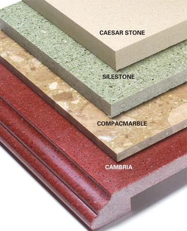 <b>Engineered stone</b></br> Engineered stone is made from crushed rock and acrylic or polyester resins.