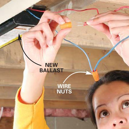 <b>Photo 4: Install the new ballast</b></br> Mount the new ballast in the fixture. Strip the electrical wiring back 1/2 in. and connect the matching-colored wires with twist-wire connectors.