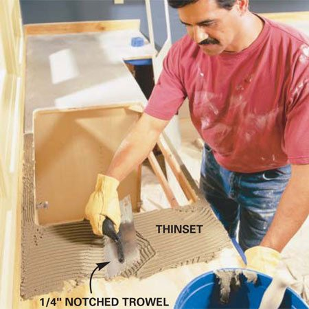 <b>Photo 7:  Spread a layer of thinset </b></br> Mix and spread a 1/8-in. layer of thinset mortar  over the plywood base with a 1/4-in. notched trowel. Embed the Denshield in the  thinset and nail it to the plywood with 1-in. shingle nails spaced every 6 in.  on edges and every 8 in. across the face. Spread thinset over the backsplash  and edges and screw on strips of tile backer with 1-1/4 in. drywall screws.