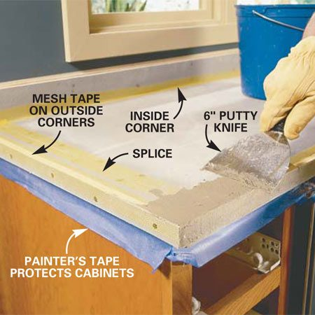 <b>Photo 8: Anchor the mesh tape with thinset</b></br> Lay fiberglass mesh tape over the outside corners of the nosings and joints,  and over the inside corners of the backsplash. Anchor the tape with a thin  layer of thinset, embedding it with a putty knife.