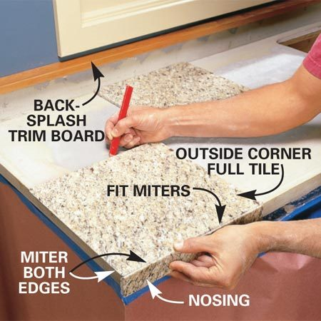 <b>Photo 11: Begin at the outside corner</b></br> Lay the full tile near the countertop end and adjust its  placement by holding the mitered nosing strip against it. Draw a pencil line  along the back of the tile onto the tile backer. Mark all of the ends of the  countertops and snap chalk lines to mark the back edges of the front row of  tile. Cut and finish the backsplash trim board. Nail it to the top of the  plywood backsplash board with 8d finish nails spaced every 8 in.