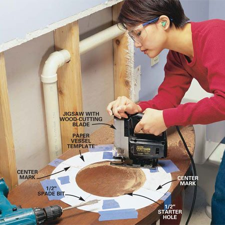 <b>Photo 3: Fit the vessel sink</b></br> Cut out the paper template supplied with your vessel sink and tape it to the center of the table. Drill a 1/2-in. starter hole inside the circle for the jigsaw blade. Then saw out the hole for the vessel sink with a jigsaw.