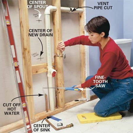 <b>Photo 8: Cut off old pipes</b></br> Turn off the water at the main shutoff valve and cut the water supply lines with a tubing cutter or hacksaw. Saw through the drain about a foot from the floor. Saw through the horizontal section of the vent pipe. Remove the sawed-out section of drain and vent.