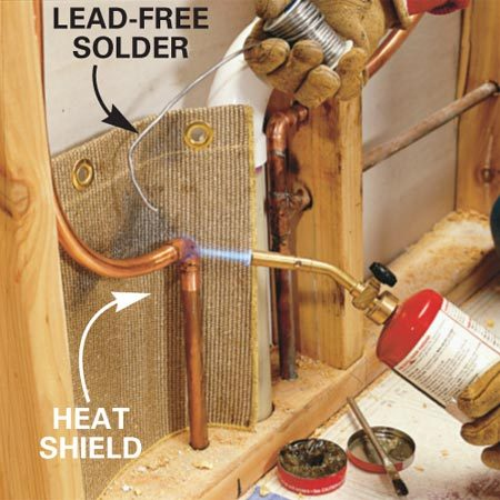 <b>Photo 13: Solder the copper</b></br> Cut, clean, flux and solder the copper tubes and fittings to connect the hot and cold supply lines to the new valve. Test the valve according to the instructions provided before covering the wall with drywall and tile.