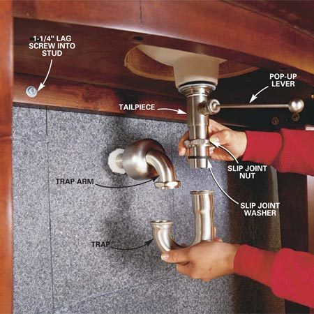 <b>Photo 16: Connect the drain</b></br> Cut the tailpiece to extend about 1-1/2 in. into the trap and thread it into the drain assembly. Use a hacksaw with a fine-tooth blade to cut the tubing. Cut the trap arm if necessary to extend about 2 in. into the wall when it's aligned with the trap. Slide the trap up onto the tailpiece and connect it to the trap arm with the rubber slip joint washers and large slip joint nuts provided. Hand-tighten them. Then tighten them an additional quarter turn with a large slip joint pliers.