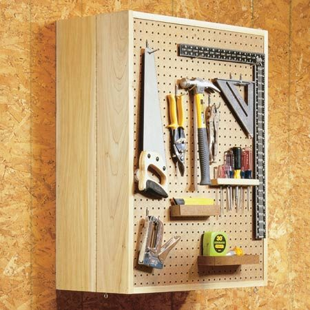 <b>Folding tool cabinet closed up</b></br> Mount your most frequently used tools on the outside where they'll always be close at hand.