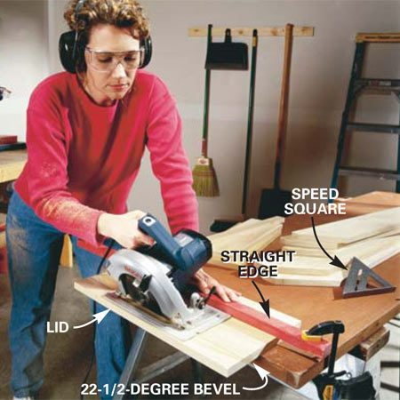 <b>Photo 1: Begin by cutting all the parts</b></br> Set your saw to an angle and rip the lid (22-1/2 degrees) and mounting cleat (45 degrees). Clamp or screw the boards to your workbench and use a straight guide for these cuts. Cut the other parts to length using a speed square as a guide to keep the cuts square.