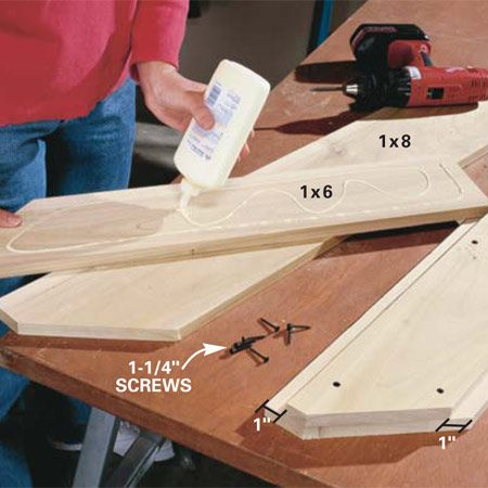 <b>Photo 4: Glue the two-piece sides</b></br> Glue and screw the two-piece sides together (Fig. D). Use 1-1/4 in. screws and predrill with a 1/8-in. bit to avoid splitting the wood.