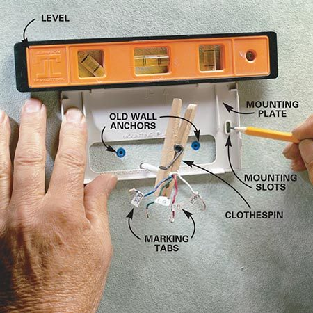 <b>Photo 2: Install the mounting plate</b></br> <p>Level the new mounting plate in position and mark the mounting screw holes. Drill 3/16-in. holes, insert drywall anchors and screw the plate to the wall.</p>