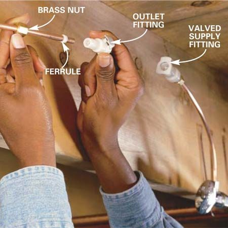 <b>Photo 2: Add the fittings</b></br> Slip the brass nut and ferrule onto the tubing. (If you have a plastic water line, insert the brass reinforcers into the tube ends). Thread the brass nut onto the fitting until finger tight, and twist it one full turn with two wrenches (the longer fitting goes on the supply side).