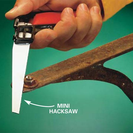 <b>Cut off a fastener head </b><br/>Use a hacksaw to cut the head off of stuck fasteners.