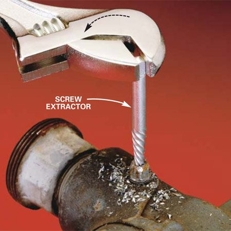 <b>Using a screw extractor </b><br/>Remove a threaded fastener with a screw extractor