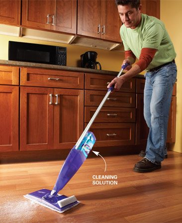 <b>Toss your mop and bucket</b></br> Every pro we talked to was a big fan of Swiffer Sweeper products, particularly the Wet Jet ($20). It lets you throw away the traditional mop and bucket and clean your hard floors in less time and in a more sanitary way (mops are often full of bacteria, which get spread on the floor during cleaning). Three cleaning solutions (for different floor types) are available for the battery-powered Wet Jet. The solution is automatically sprayed onto the floor with the push of a button. Disposable, textured pads absorb the spray as they clean. Since the Wet Jet is very portable, it's great for spot-cleaning spills. The downside is that it doesn't work as well as a mop on extremely dirty floors or on mud that gets tracked into the house.