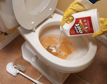 <b>Use the right rust stain remover</b><br/>All-purpose cleaners won&#39;t remove rust stains from sinks, tubs and toilets, even with a lot of elbow grease. The trick is to use a stain remover like Super Iron Out ($10 for a 5-lb. jug). Look for a rust stain remover or a product that contains diluted hydrochloric acid (also listed on product labels as hydrogen chloride, HCL or muriatic acid). Be careful not to use a product containing bleach&mdash;it&#39;ll set the stain. For toilets, add Super Iron Out to the water in the bowl, then clean with a stiff nylon-bristled brush. For sinks and tubs, first wet the surface with water. Apply Super Iron Out to a damp sponge (wear rubber gloves and a mask&mdash;this stuff is powerful!). Wipe the stain with the sponge until it&#39;s gone. Rinse the surface with plain water to completely remove the Super Iron Out.