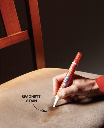 <b>Stain pens really work</b><br/>The best way to prevent stains is to treat spills immediately. That&#39;s why pros love stain pens, like Tide to Go and the Clorox Bleach Pen Gel, which are designed to remove small stains from upholstery, grout, caulk, porcelain and clothing (avoid the bleach pens for colored fabric). Just press the tip into the stain to release the solution, then rub the tip across the stain to remove it. Inexpensive ($3) and portable, they&#39;re great at removing food and drink spills. Before applying a cleaning solution to an entire surface or fixture, first test it on a tiny area to make sure it won&#39;t damage or discolor the finish.