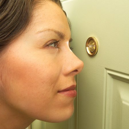 <b>Install the right type of peephole</b></br> <p>You never want to open a door unless you know who's on the other side. A peephole lets you see who's there, but entry doors don't come with peepholes, and a lot of peepholes are so tiny that they don't clearly show you who's out there. Strangers can hide slightly out of view or appear so distorted that they're hard to identify.</p>