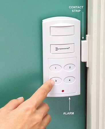 <b>Door alarms have a piercing shriek</b></br> <p>Attach the alarm to the door or window (with a screw or double-sided tape) alongside the magnetic contact strip (they don't have to be touching, but within 1/2 in.). When the door or window opens, breaking magnetic contact, the alarm shrieks. The door alarm has a delay feature, giving you time to set the alarm and leave, then open the door and deactivate the unit when you come home, without setting it off. The window unit has an on/off switch. The alarm batteries last two to three years.</p>