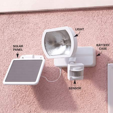 <b>The solar panel charges batteries</b></br> <p>Motion detector lights are a proven crime deterrent, and standard hardwired models cost as little as $15. If running a power supply would be difficult, buy ones that run on solar power (for instance, <a href='http://www.amazon.com/gp/product/B0052SF0LO/ref=as_li_tl?ie=UTF8&camp=1789&creative=390957&creativeASIN=B0052SF0LO&linkCode=as2&tag=familhandy-20&linkId=A67BPI2MNWWNOTNS' title='Sunforce LED Solar Motion Light' rel='nofollow' title='_blank'>Sunforce LED Solar Motion Light</a> , available through our affiliation with Amazon.com). Attach the lighting unit to the house or outbuilding (screws are included).Make sure the solar panel receives direct sunlight, although it still charges on cloudy days.</p>