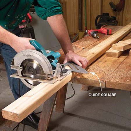 <b>Photo 1: Cut the parts</b></br> <p>Cut out the bench parts following the measurements in Figure A. Use a square to guide the circular saw for accurate, square cuts. Cut 45-degree angles on the ends of the seat and back supports 1 in. down from the ends as shown (also see Photos 4 and 5).</p>