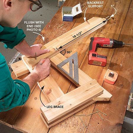 <b>Photo 5: Add the backrest</b></br> <p>Position the backrest support on the leg assembly as shown, making sure it's at a right angle with the seat support, and mark the position on the seat support. Then drive a 3-in. screw through the middle of the backrest support into the leg brace.</p>