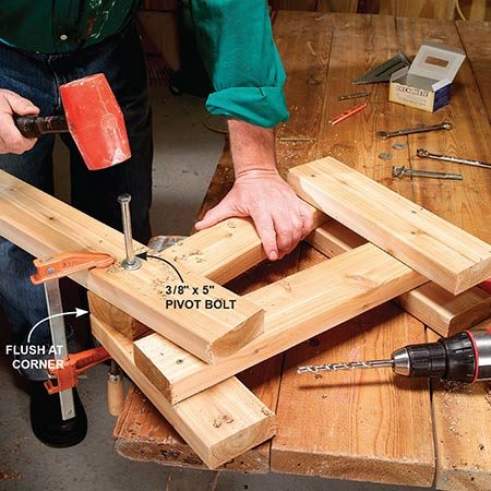 <b>Photo 6: Finish the leg assemblies</b></br> <p>Clamp the backrest support, seat support and rear leg as shown using the line as a guide. Drill a 3/8-in. hole through the center of the assembly. Drive a 3/8-in. x 5-in. bolt fitted with a washer through the hole and slightly tighten the nut against a washer on the other side.</p>