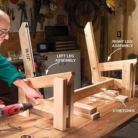 <b>Photo 7: Add the stretcher</b></br> <p>Build the other leg assembly for the bench to mirror the first as shown. (The back support and rear leg switch sides.) Prop the stretcher 3 in. above the workbench, center it between the front and rear bench legs and screw the leg braces into the ends with two 3-in. deck screws.</p>