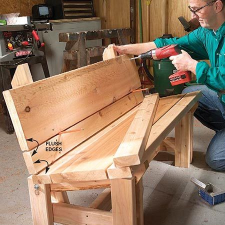 <b>Photo 9: Build the backrest</b></br> <p>Rest the bottom backrest 2x4 on carpenter's pencils, holding the end flush with the seat boards, and screw it to the seat back braces. Then space and screw on the center 2x10 and the top 2x4 backrest boards.</p>