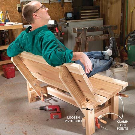 <b>Photo 10: Test the fit</b></br> <p>Sit on the bench and decide if you'd like to tilt the seat or the backrest or both to make the bench more comfortable. To make seat or back adjustments, loosen the bolts and clamp the bottoms of the seat back supports and the fronts of the seat supports. Then back out the four screws at those points. Loosen the clamps, make adjustments, then retighten and retest for comfort. When you're satisfied with the fit, drive in the four original screws plus another at each point. Retighten the pivot bolts.</p>